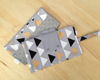Nappy Clutch/ Nappy Wallet/ Diaper Bag/ Baby Change Wallet Grey w Triangles Print