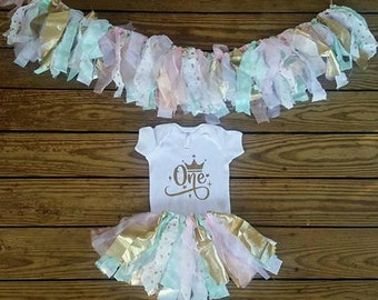 HighchairBanner,Birthday Garland,Bodysuit Tutu Skirt Outfit Set One Gold Pink Mint Crown Rag Tie,Scrappy Fabric Banner,Cake Smash,Photo Prop