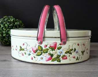 Vintage Ivory Pink Strawberries Tin Lunchbox with Handles - Tin Sewing Box Container Vintage Handled Tin Picnic Basket Strawberries