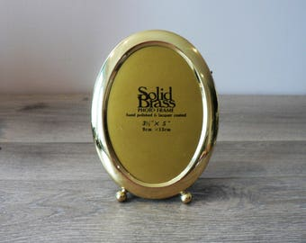 Vintage 80's Oval 3 1/2 x 5 Brass Photo Frame - Hand Polished and Lacquer Coated