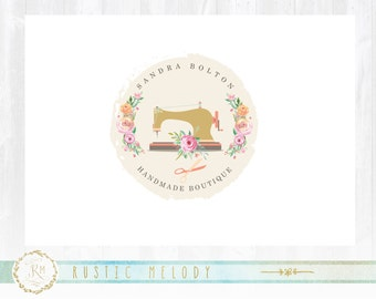 Floral Logo, Sewing Machine Logo, Artisan Logo, Boutique Logo ,Fabric Logo, Decor Logo, Shabby Chic Logo ,Watermark