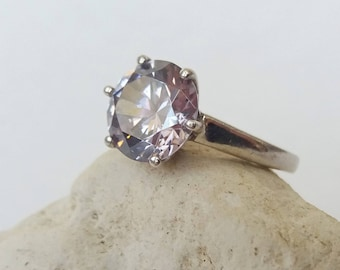 Solitaire Silver CZ Ring Large Cocktail Ring Gift  Vintage UK