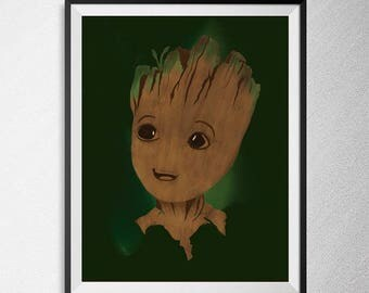 Groot character print, Guardians of the Galaxy Illustration, Minimal film poster, minimalist movie art, custom posters, film art.