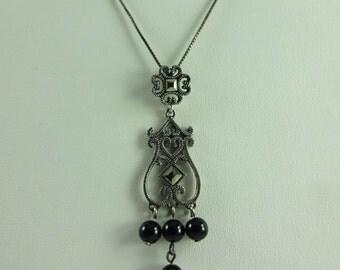 "Sterling Silver 925 Black Onyx Marcasite Pendant Necklace w/ 18"" Box Chain"