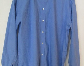 """Eton Etastar Blue French Cuff Mens Dress Shirt Chest size 46"""" - 48"""" inches (Approximate XL )  Used"""