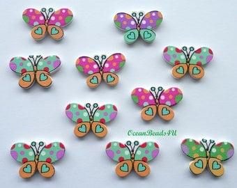 10 Wooden Buttons with 2 Holes, Butterflies Wooden Buttons, Sewing Buttons, Holzknöpfe,Hölzerne Vögel, Holzknöpfe,Wooden Buttons