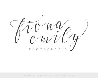 Premade Logo for Photographers, Calligraphy Logo Design, Pre-made Photography Logo for Creatives, Photography Logo Design Template