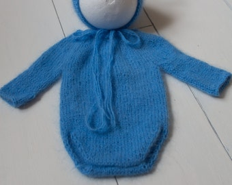 SALE! Newborn photography prop super soft knitted angora romper and bear bonnet
