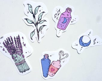 Potions Sticker Pack - 5 magic themed glossy stickers