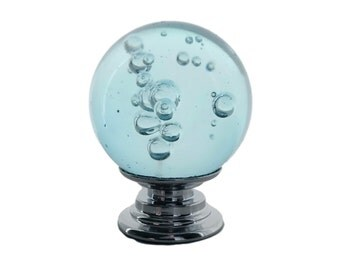 "Aqua Blue Bubble Crystal Glass 1"", 30mm Round Knob, Drawer Pull, Cabinet Pull, Dresser Drawer Pull - C14"