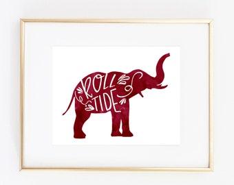 Alabama Crimson Tide Elephant Print (8x10)
