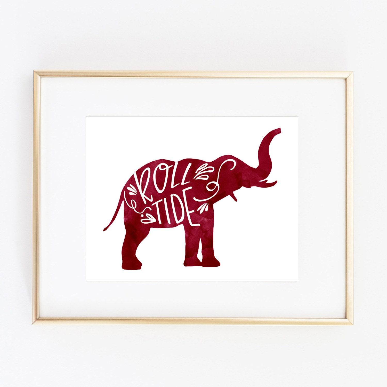 Alabama Crimson Tide Elephant Print