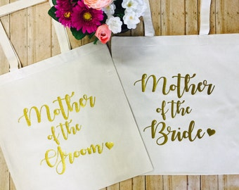 Set of 2 TOTES! Gold Glitter Mother of the Bride & Mother of the Groom, Bride Bag, Bridesmaid Tote, Bridesmaid Bag, Wedding Totes