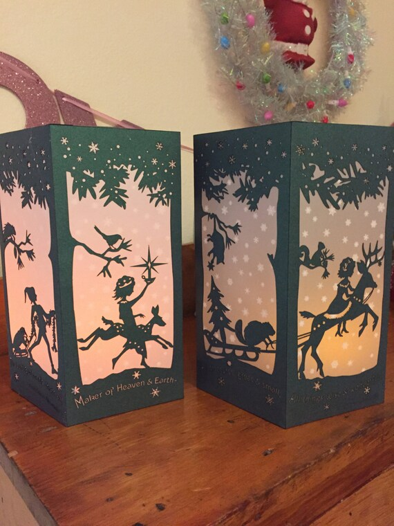 "Paper Lantern / Luminary - Winter-Christmas Silhouette -""Snowy Woodlands"""