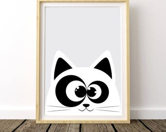 Cat Nursery Wall Art, Cat Girl Nursery, White Cat Wall Decor, Nursery Cat Art, Cat Wall Art, Grey Cat, Cat Kids Room, Cat Girl Room