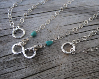 Mama metal / modular jewelry 4-in-1 convertible double clasp sterling silver chain // made to order