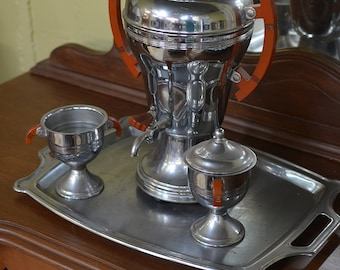 Stainless Steel Tea Server with Tray