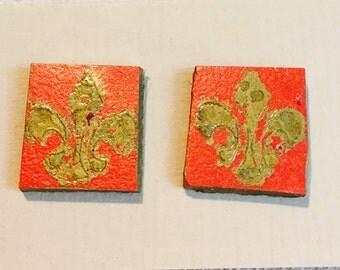 Fleur de Lis Stud Earrings in Red and Gold- Repurposed Linoleum Tile Earrings
