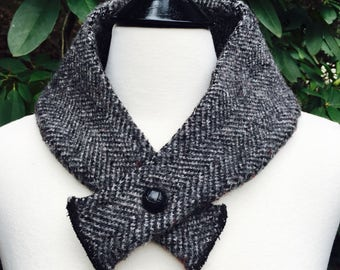 Wool herringbone Collar Neck Warmer black and gray- Upcycled neck warmer repurposed suit