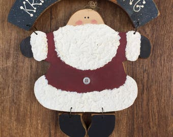 Primitive Wood Santa Christmas Decoration