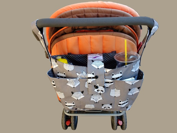 stylish pram caddy / stroller organiser / pram bag -Grey foxes
