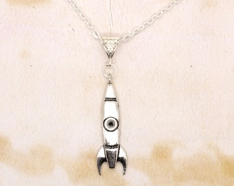 Rocket Space Ship Pendant on Silver Tone Chain Necklace