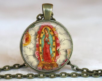 Our Lady of Guadalupe Pendant- Catholic Necklace- Antique bronze - 24 inch chain