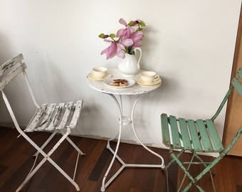 Vintage French metal bistro table
