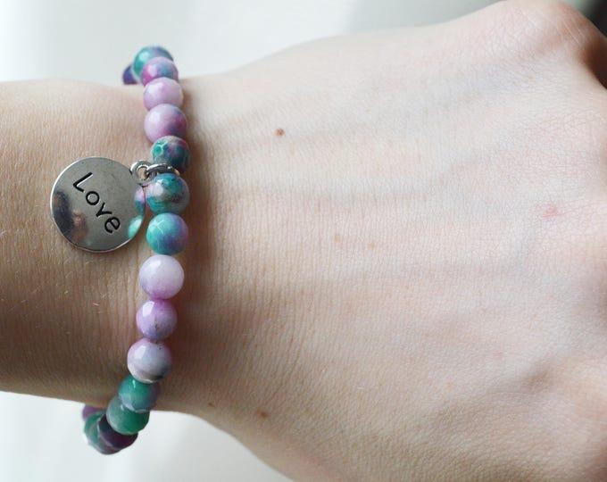 Jade gemstone bracelet, Heart chakra stone, Good luck bracelet, Rainbow gemstone bracelet, Heart chakra bracelet, Friendship bracelet, Jade