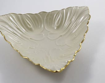 Lenox Triad Collection Triangular Candy Dish - Bowl - Cream with 24k Gold Trim - Made in USA