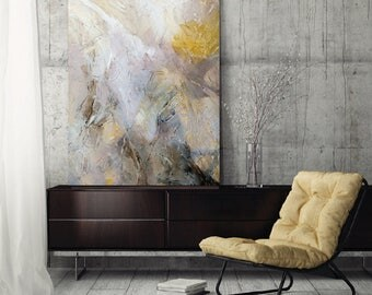 "Abstract Painting, canvas art print, large abstract art, wall art, gray yellow neutral, ""Shifting XII"""