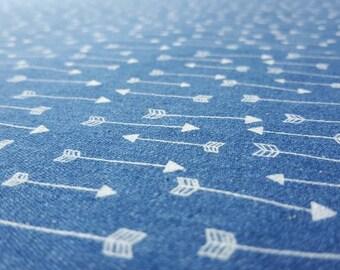 Light-weight Denim Fabric: Mid-Blue with Arrow Print