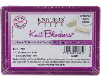 Knitter's Pride Knit Blockers, Blocking Pins Kit, Knitter's Pride Pins, plastic embedded with sharp rust resistant stainless steel pins