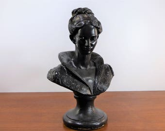 Large bust woman plaster painted - Vintage bust woman plaster