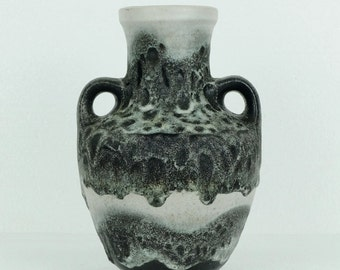 vintage midcentury VASE by carstens black and grey fat lava glaze no. 350