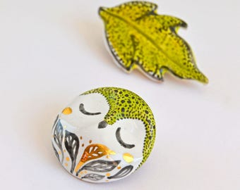 Pair of Pins Forest Owl and Leaf Ceramic Brooches Decorated with Genuine Gold