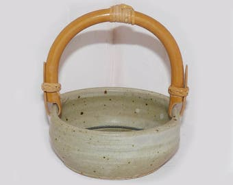 Pottery Bowl with Bamboo Handle Hand Thrown -  365