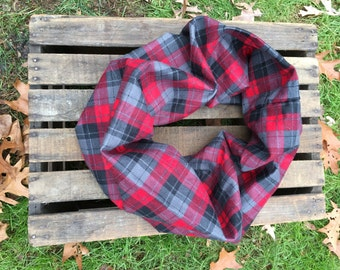 Red, Grey and Black Plaid Infinity Scarf