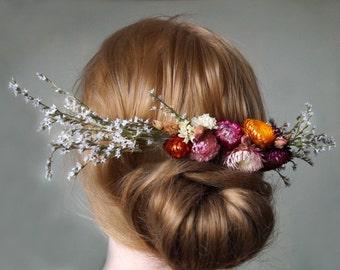 Dried flower wedding White Limonium Flowers Hair Comb Hair flowers hair comb dried flower garden wedding bridal headpiece hair accessories