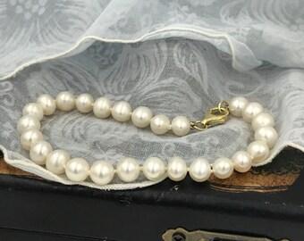 """Vintage Bracelet,Cream Pearl Bracelet,Sterling Silver Clasp,Designer Bracelet """"925 RSE"""""""