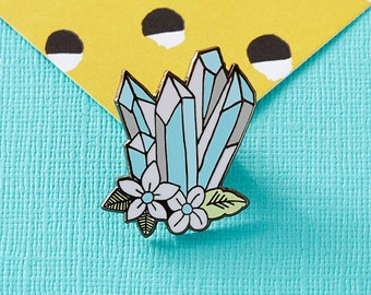 Blue Floral Crystals Enamel Pin with clutch back // crystal, tattoo, floral // EP119