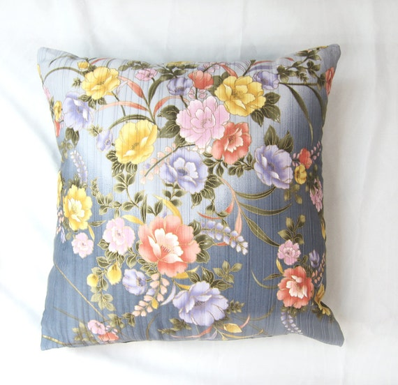Decorative Floral Pillow Covers : Decorative pillow Blue Gray ombre FLORAL Pillow Cover
