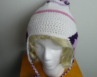 Winter White and Purple Modern Granny Hat PomPom Hat