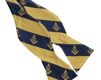 Masonic Navy Blue Gold  Compass Stripe Self-tie Bow Tie  M2