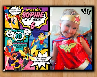 Superhero Girls Invitation - DC Superhero Girls Invite - DC Super Hero Girls Birthday Invite - Super Heroes invite Printable with photo