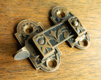 Old Shutter Latch, Shutter Hardware, Vintage Shutter Lock, Antique Brass Latch, Shutter Bar, Eastlake Shutter, Eastlake Latch, Cabinet Latch