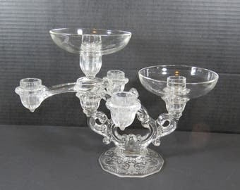 "Cambridge Arms Epergne, 1 Arm, 2 Nappy Dish Holders, ""Portia Keyhole"" Candle Holder"