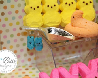 Miniature Marshmallow Bunny Peep (Blue) Earrings - Silver Plated French Hook