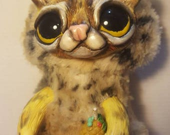 Ocelot, the wild cat, handmade art doll available