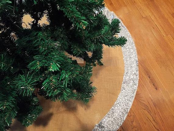 Items Similar To Christmas Tree Skirt, Silver Sequin Tree